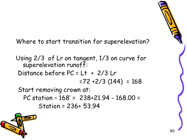 80 Where to start transition for superelevation? Using 2/3 of Lr on tangent, 1/3 on curve for superelevation runoff: Dista...