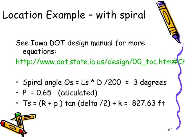 82 Location Example – with spiral See Iowa DOT design manual for more equations: http://www.dot.state.ia.us/design/00_toc....