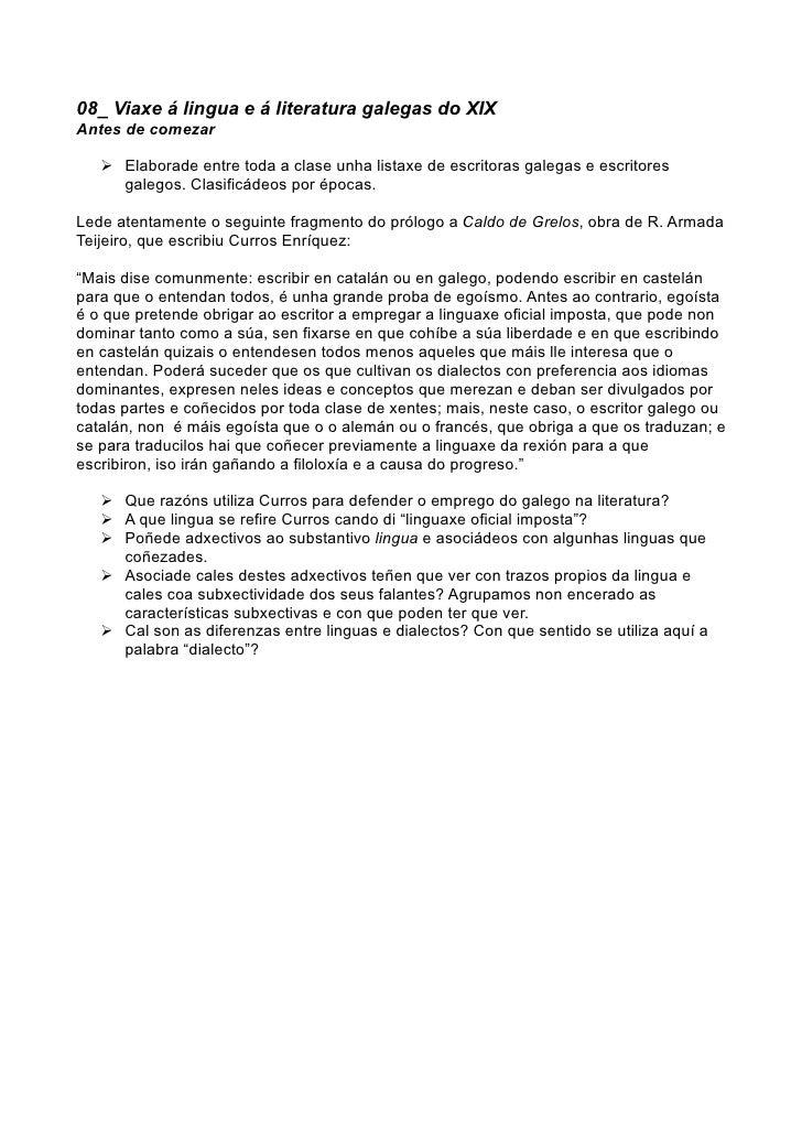 08_ Viaxe á lingua e á literatura galegas do XIX Antes de comezar      Elaborade entre toda a clase unha listaxe de escri...