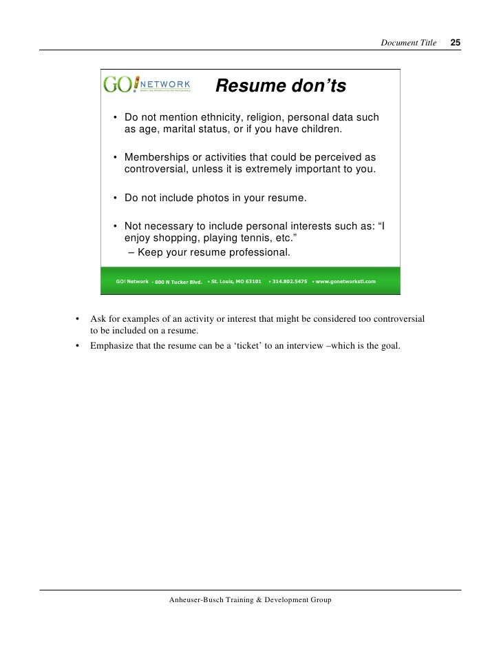 recommended font size for resume