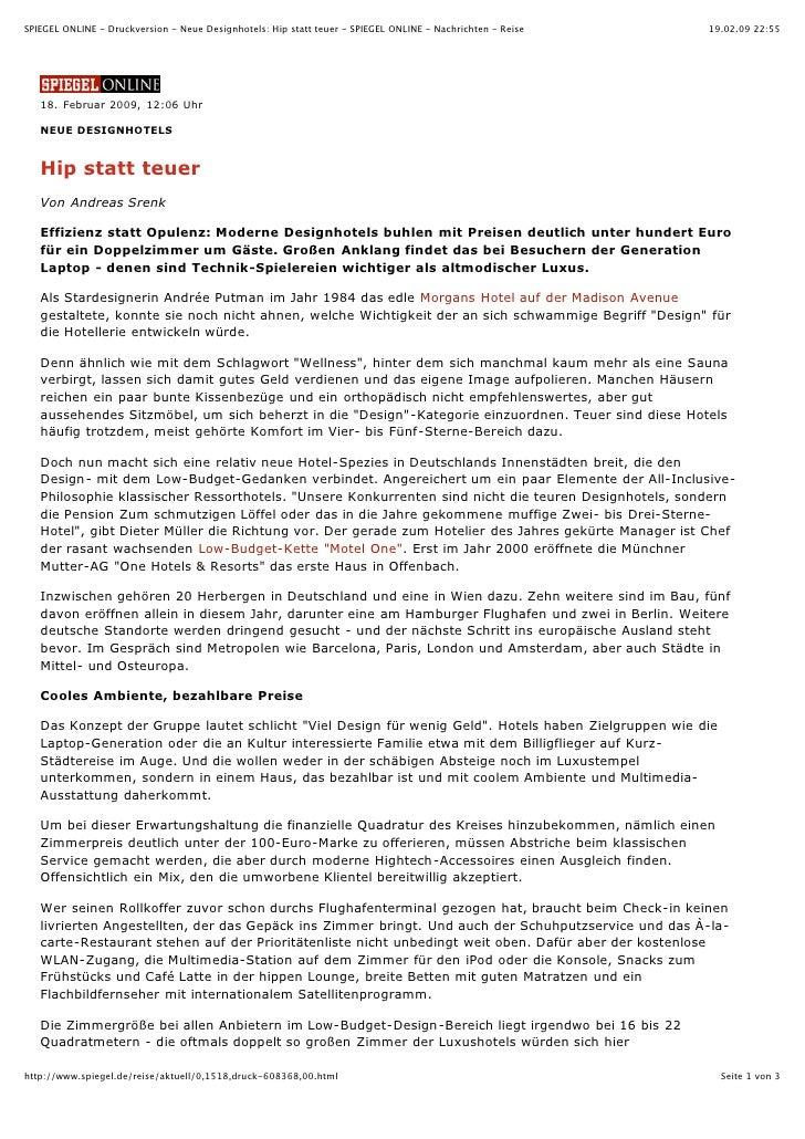 SPIEGEL ONLINE - Druckversion - Neue Designhotels: Hip statt teuer - SPIEGEL ONLINE - Nachrichten - Reise   19.02.09 22:55...