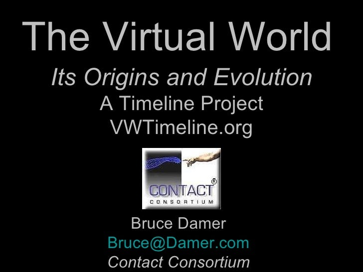 The Virtual World  Bruce Damer [email_address] Contact Consortium Its Origins and Evolution A Timeline Project VWTimeline....