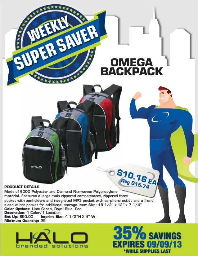 SUPERSAVERWEEKLY OMEGA BACKPACK PRODUCT DETAILS Made of 600D Polyester and Diamond Non-woven Polypropylene material. Featu...