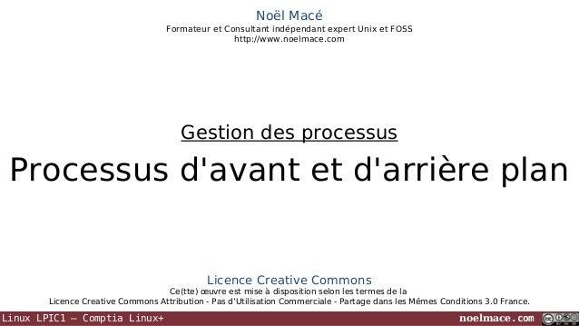 Noël Macé Formateur et Consultant indépendant expert Unix et FOSS http://www.noelmace.com  Gestion des processus  Processu...