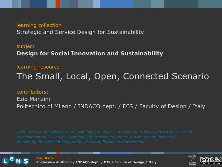 learning collection Strategic and Service Design for Sustainability subject Design for Social Innovation and Sustainabilit...