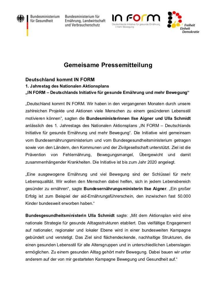 """Gemeisame PressemitteilungDeutschland kommt IN FORM1. Jahrestag des Nationalen Aktionsplans""""IN FORM – Deutschlands Initiat..."""