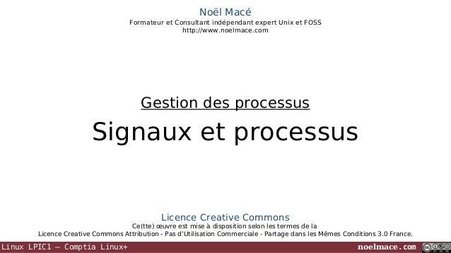 Noël Macé Formateur et Consultant indépendant expert Unix et FOSS http://www.noelmace.com  Gestion des processus  Signaux ...