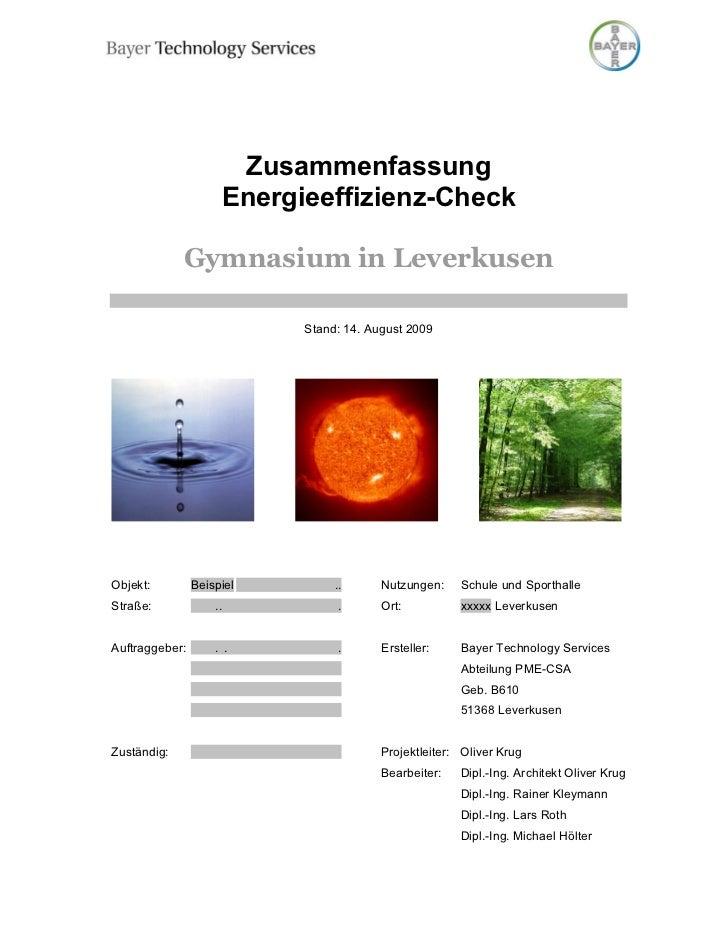 Zusammenfassung                     Energieeffizienz-Check             Gymnasium in Leverkusen                           S...
