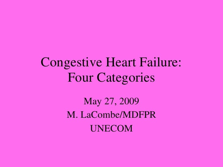 Congestive Heart Failure: Four Categories May 27, 2009 M. LaCombe/MDFPR UNECOM