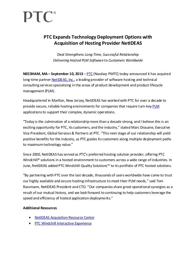 PTC Expands Technology Deployment Options with Acquisition of Hosting Provider NetIDEAS Deal Strengthens Long-Time, Succes...