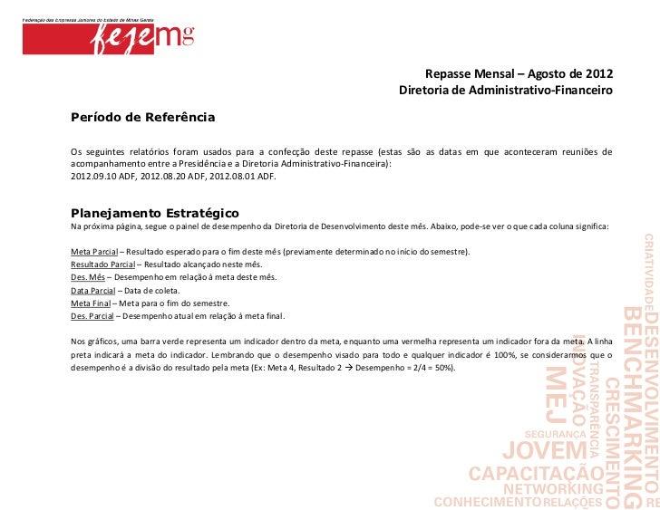 Repasse Mensal – Agosto de 2012                                                                                    Diretor...