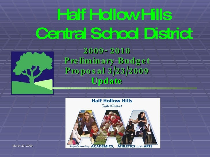 Half Hollow Hills Central School District 2009- 2010 Preliminary Budget Proposal 3/23/2009  Update