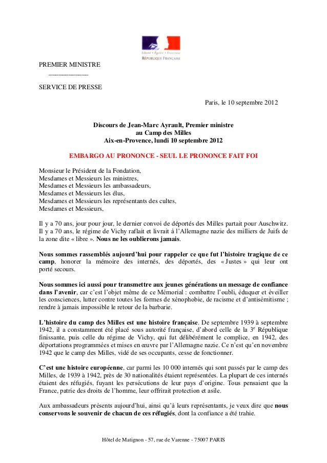 PREMIER MINISTRE  ____________SERVICE DE PRESSE                                                                   Paris, l...