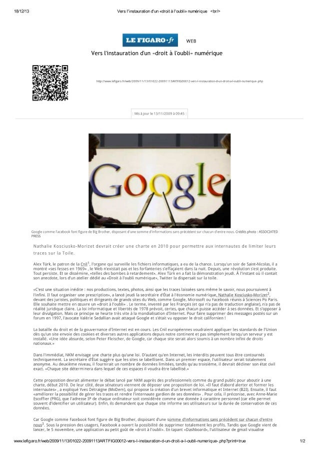 09 11-13 vers l'instauration d'un «droit à l'oubli» numérique