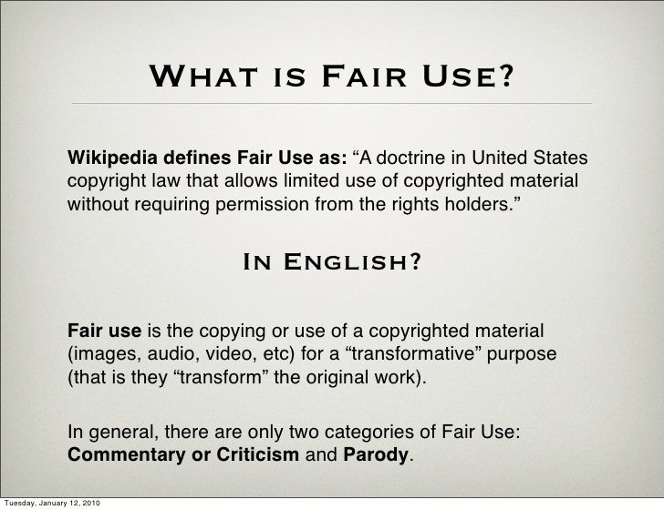 Fair Use: A Guideline For Those In Doubt