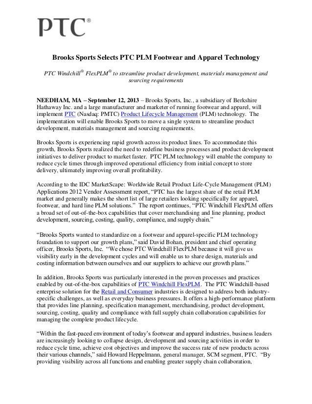 Brooks Sports Selects PTC PLM Footwear and Apparel Technology PTC Windchill® FlexPLM® to streamline product development, m...