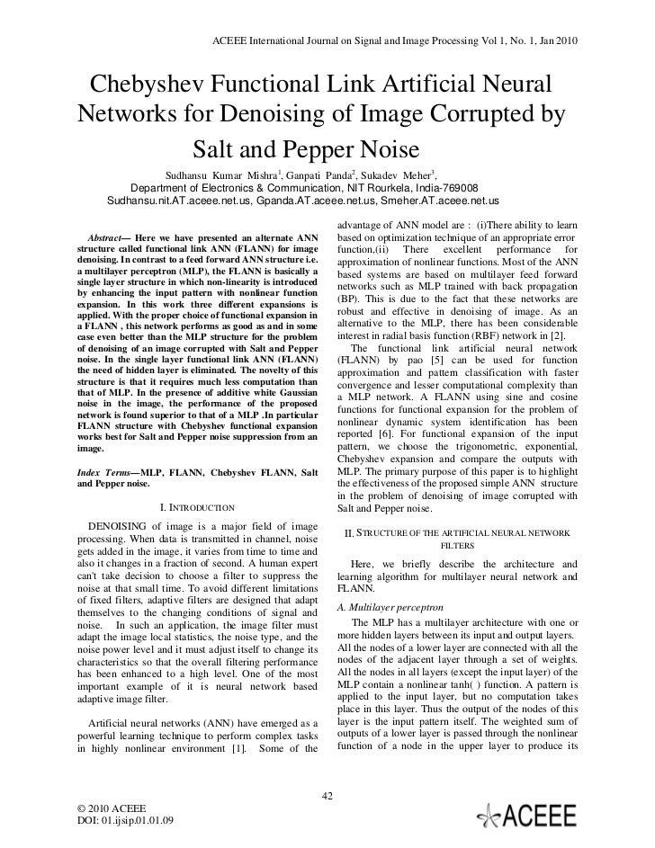 ACEEE International Journal on Signal and Image Processing Vol 1, No. 1, Jan 2010 Chebyshev Functional Link Artificial Neu...