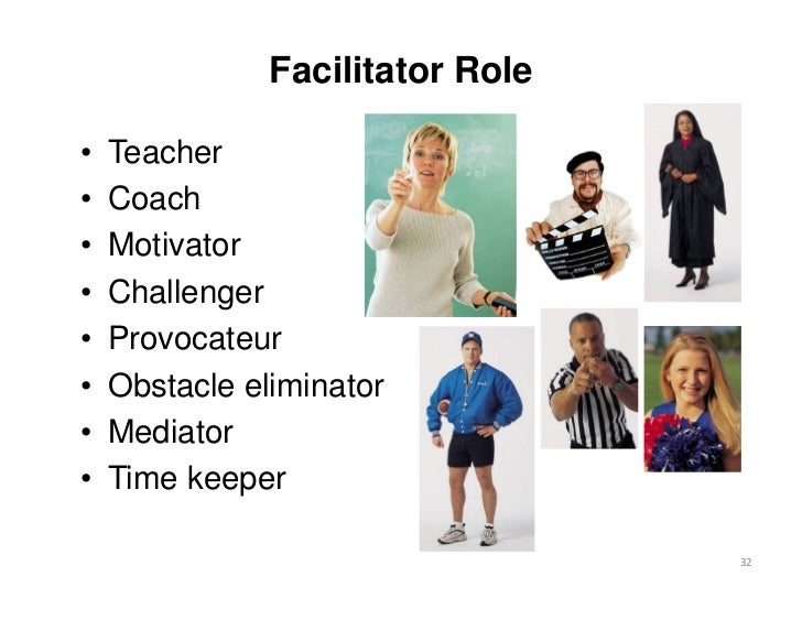 Facilitator Role•   Teacher•   Coach•   Motivator•   Challenger•   Provocateur•   Obstacle eliminator•   Mediator•   Time ...