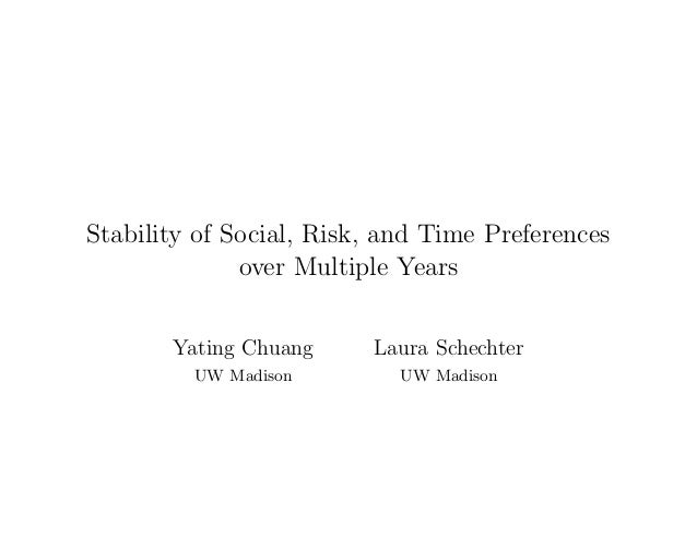 Stability of Social, Risk, and Time Preferences over Multiple Years Yating Chuang UW Madison Laura Schechter UW Madison