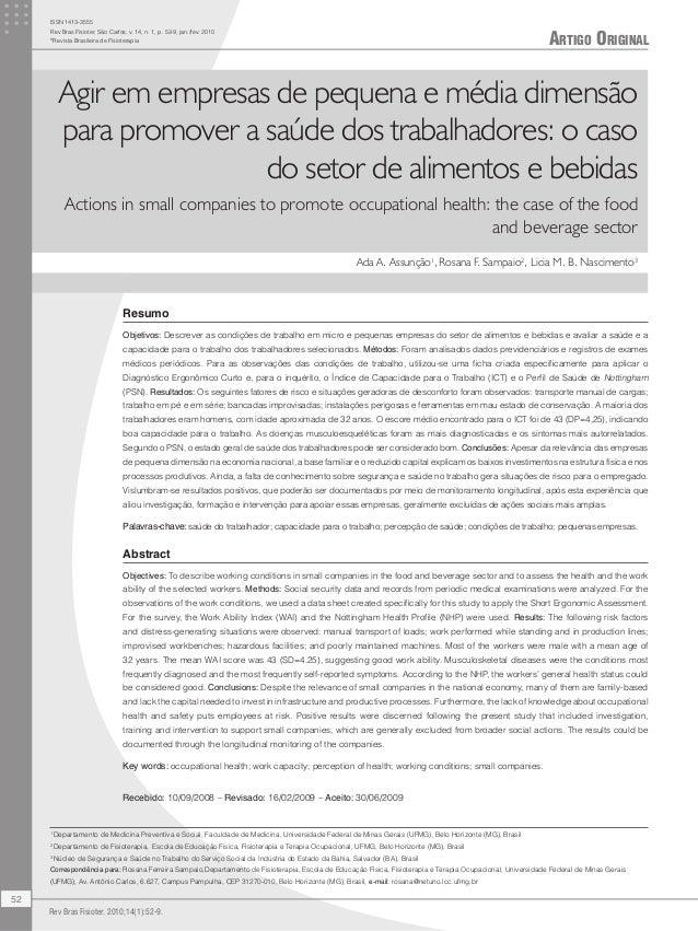 Artigo Original ISSN 1413-3555 Rev Bras Fisioter, São Carlos, v. 14, n. 1, p. 52-9, jan./fev. 2010 © Revista Brasileira de...