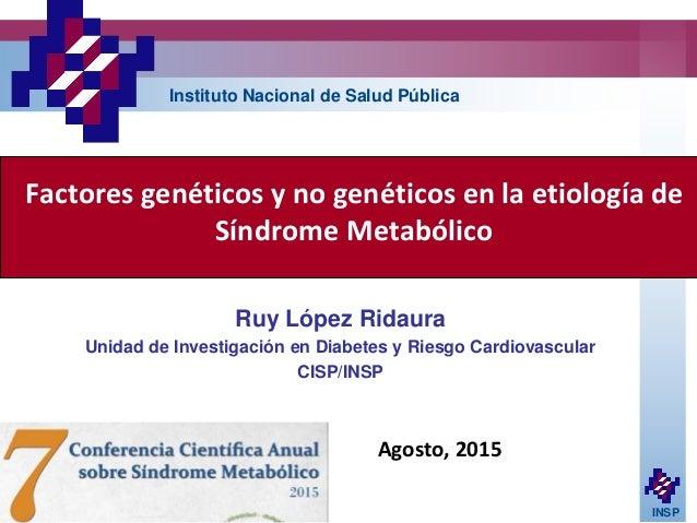 INSP Factores genéticos y no genéticos en la etiología de Síndrome Metabólico Ruy López Ridaura Unidad de Investigación en...