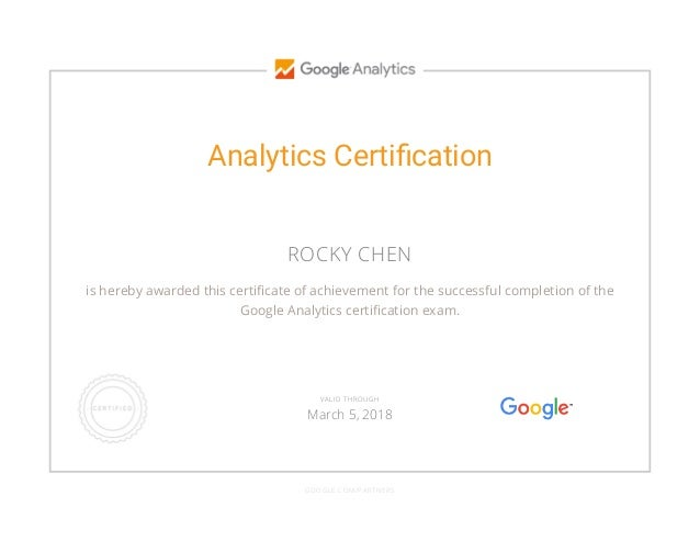 Rocky Chen Google Analytics Iq Certificate