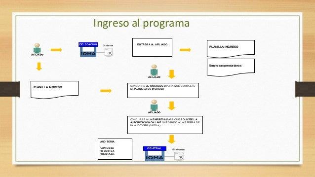 Componentes del programa • Equipo coordinador central: IOMA CENTRAL: compuesto por un médico capacitado en CP, informático...
