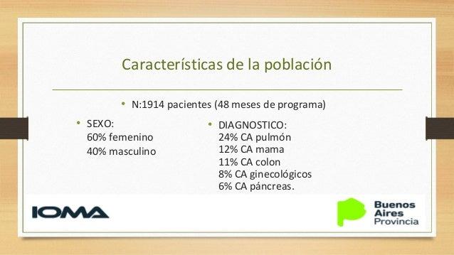 Características de la población • Performance status (ECOG): 4: 50%, 3: 50% • Reciben Tto quimioterapico: 35% • Viven solo...