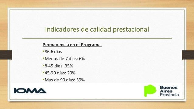 Indicadores de calidad prestacional Internaciones hospitalarias •El 10% del total de los pacientes bajo programa cursa una...