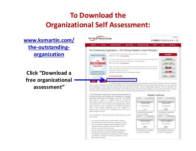 "To Download the  Organizational Self Assessment: www.ksmartin.com/ the‐outstanding‐ organization Click ""Download a  free o..."
