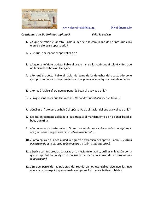 www.descubrelabiblia.org Nivel Intermedio Cuestionario de 1ª. Corintios capítulo 9 Evita la codicia 1. ¿A qué se refirió e...