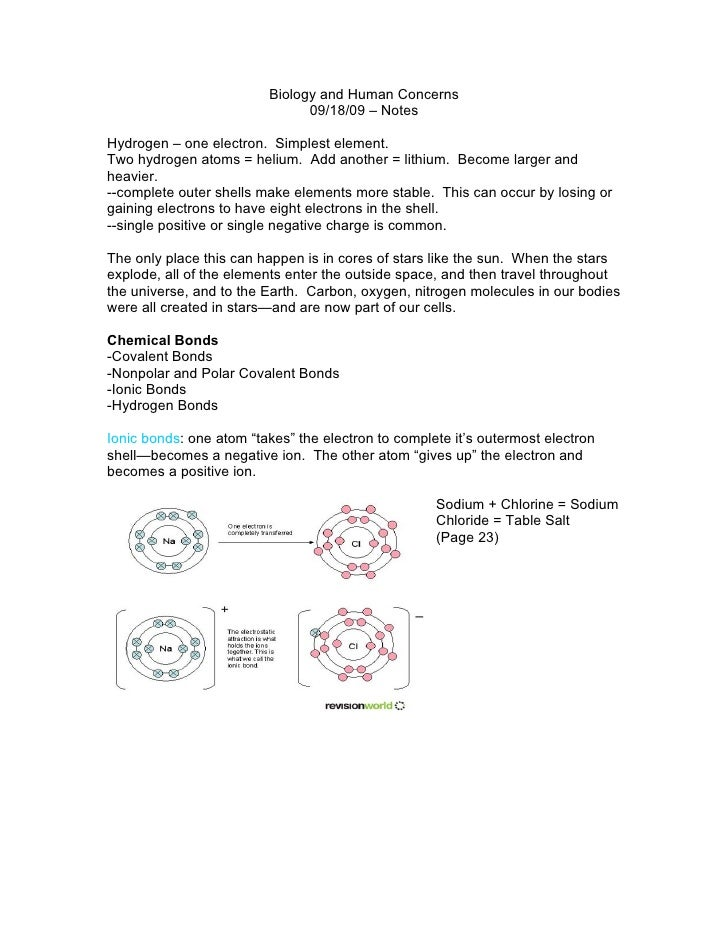 Biology and Human Concerns                                09/18/09 – Notes  Hydrogen – one electron. Simplest element. Two...