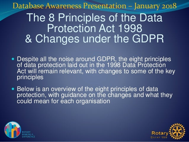 22 Database Awareness Presentation January 2018 The 8 Principles Of Data Protection