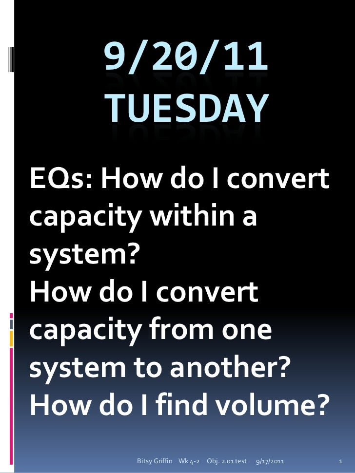EQs: How do I convert capacity within a system?<br />How do I convert capacity from one system to another?<br />How do I f...