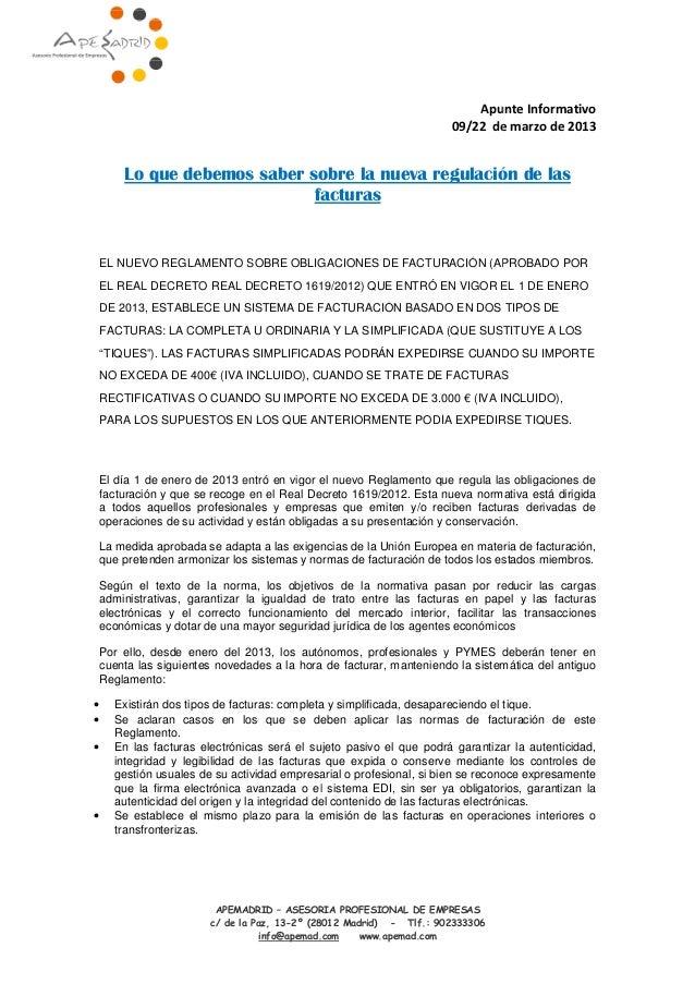 APEMADRID c/ de la Paz, 13 Lo que debemos saber sobre la nueva regulación de las EL NUEVO REGLAMENTO SOBRE OBLIGACIONES D ...
