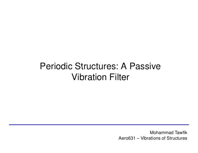 Periodic Structures: A Passive Vibration Filter  Mohammad Tawfik Aero631 – Vibrations of Structures