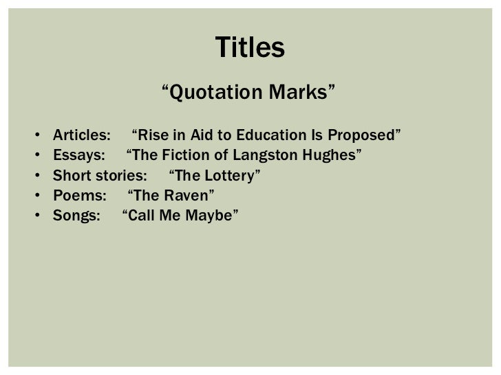 quoting film titles in essays Whether you're writing an important research paper, publishing an article or trying to impress a hot librarian, it's important to know how to cite movies in ap style ap style stands for the associated press stylebook, a set of guidelines for punctuation, grammar, spelling, citation and written .