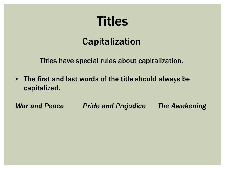 should the title of an essay be all capitalized