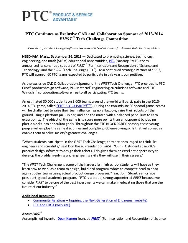PTC Continues as Exclusive CAD and Collaboration Sponsor of 2013-2014 FIRST ® Tech Challenge Competition Provider of Produ...