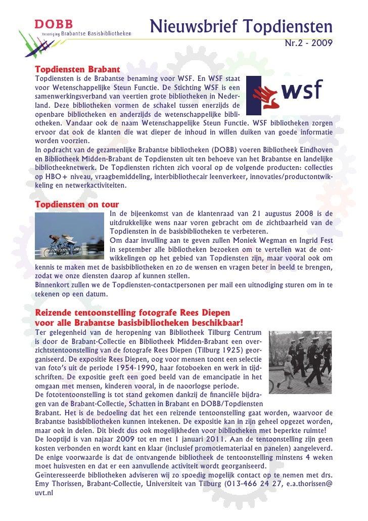Nieuwsbrief Topdiensten                                                                              Nr.2 - 2009   Topdien...