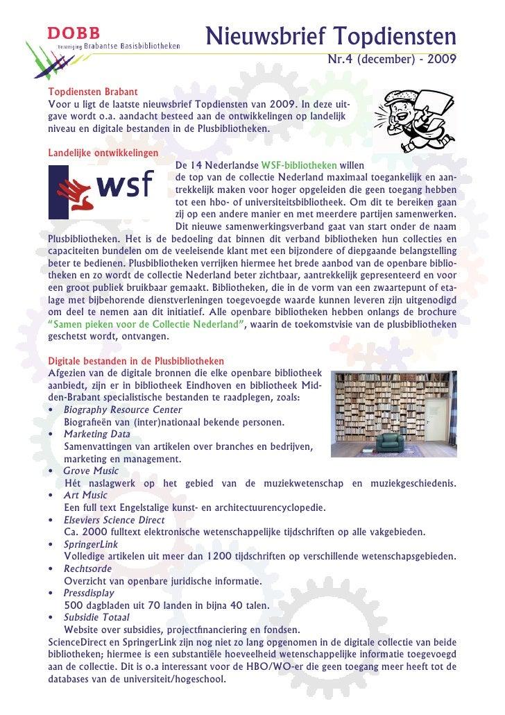 Nieuwsbrief Topdiensten                                                                  Nr.4(december)-2009  Topdienst...