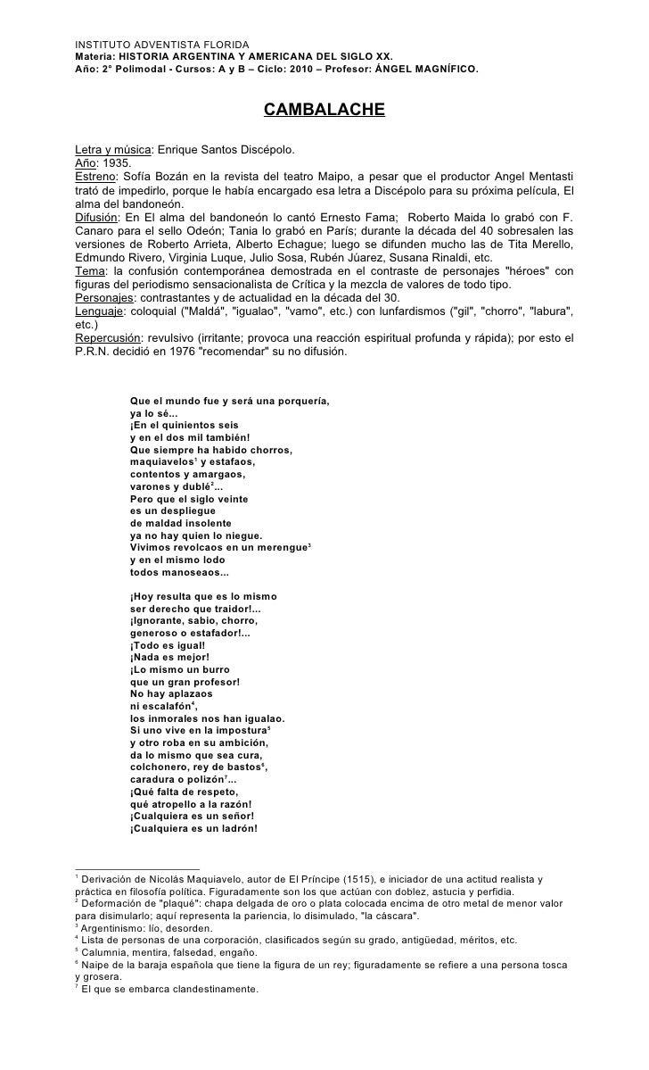 INSTITUTO ADVENTISTA FLORIDA Materia: HISTORIA ARGENTINA Y AMERICANA DEL SIGLO XX. Año: 2° Polimodal - Cursos: A y B – Cic...