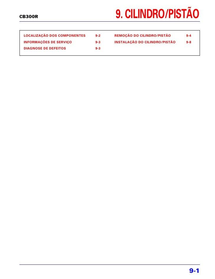 CB300R                               9. CILINDRO/PISTÃO LOCALIZAÇÃO DOS COMPONENTES   9-2   REMOÇÃO DO CILINDRO/PISTÃO    ...
