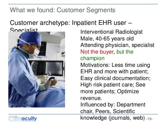 -19- What we found: Customer Segments Customer archetype: Inpatient EHR user – Specialist Interventional Radiologist Male,...