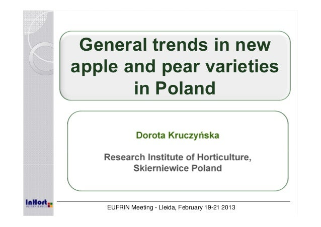 General trends in new apple and pear varieties in Poland Dorota Kruczyńska Research Institute of Horticulture, Skierniewic...