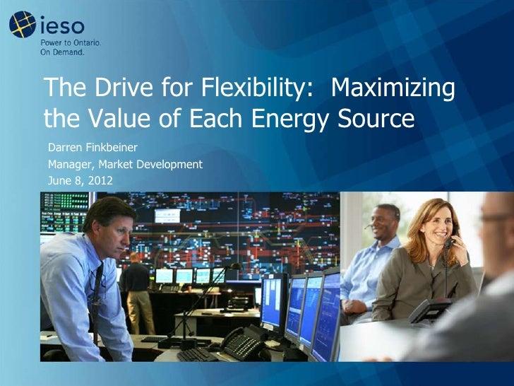 The Drive for Flexibility: Maximizingthe Value of Each Energy SourceDarren FinkbeinerManager, Market DevelopmentJune 8, 2012