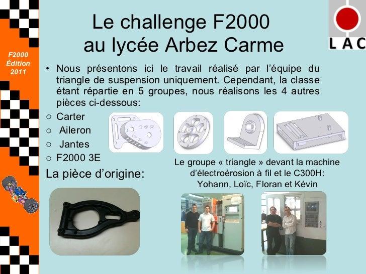 Le challenge F2000  au lycée Arbez Carme <ul><li>Nous présentons ici le travail réalisé par l'équipe du triangle de suspen...