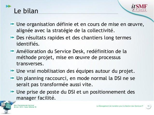 Le bilan Une organisation définie et en cours de mise en œuvre, alignée avec la stratégie de la collectivité. Des résultat...