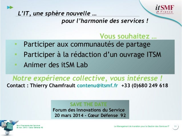 L'IT, une sphère nouvelle … pour l'harmonie des services !  Vous souhaitez … ▪ Participer aux communautés de partage ▪ Par...