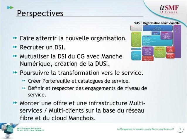 Perspectives Faire atterrir la nouvelle organisation. Recruter un DSI. Mutualiser la DSI du CG avec Manche Numérique, créa...